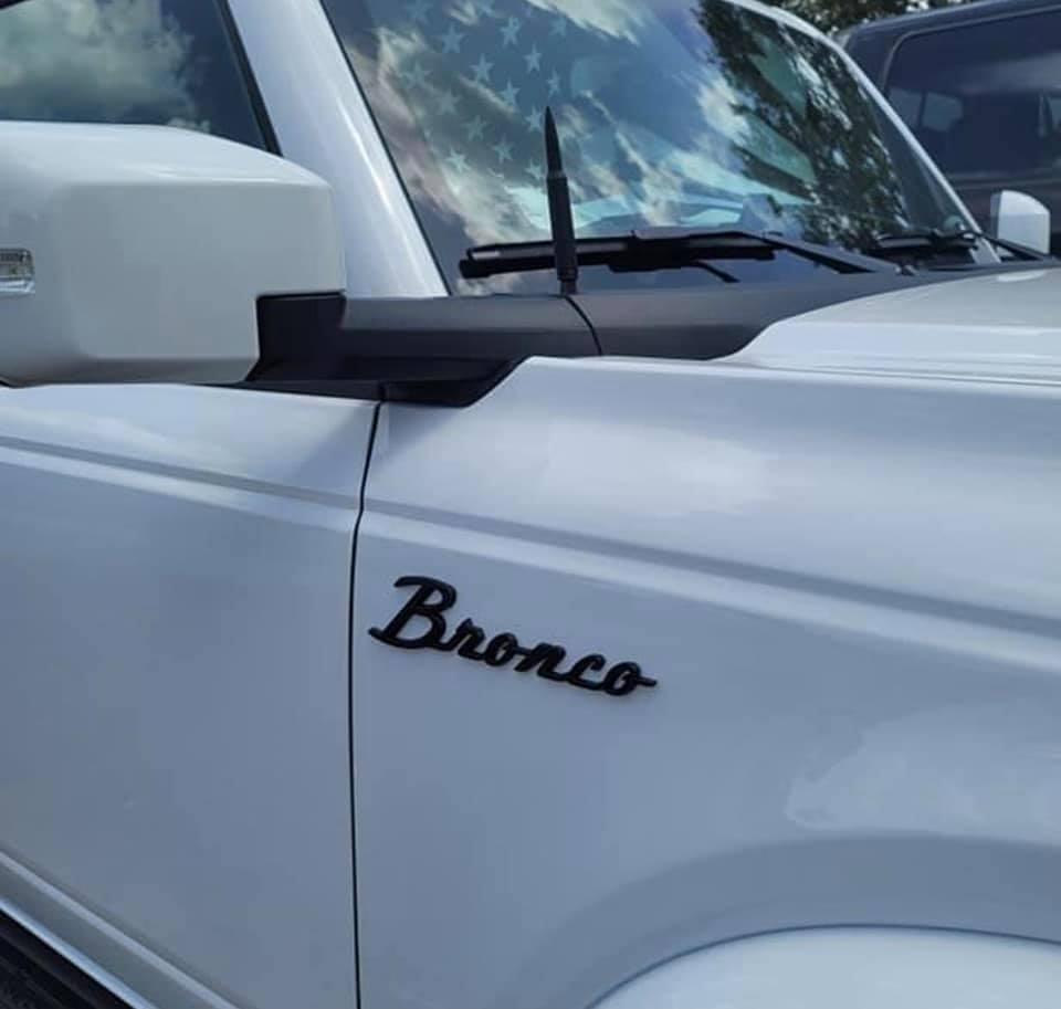 Bronco Emblem Swap in white